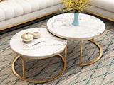 【磐匠】北欧轻奢茶几组合 后现代美式客厅家具 套装不锈镀金大理石茶几 白色茶几组合(大+小)