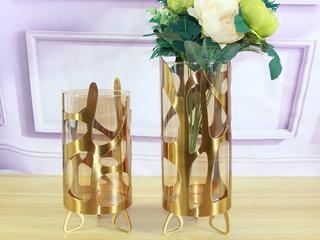 玻璃加铁艺两件套花瓶(包邮)