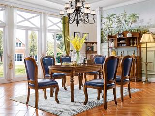 美式风格 金丝楠木色 实木 长方形 餐桌