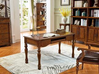 美式风格 金丝楠木色 实木 书桌