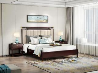 金丝檀木实木 优质头层真皮 1.8米床新中式风格双人床