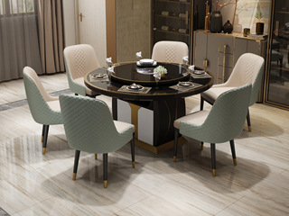 后现代轻奢风格 可伸缩1.2餐桌 带电磁炉功能钢化玻璃台面 钢琴烤漆柜桶