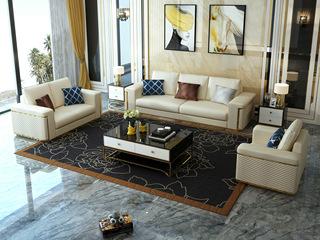 轻奢风格 米白色 皮艺 北美进口落叶松框架 沙发组合(1+2+3) (抱枕随机发货)
