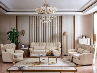 慕梵希 轻奢 (1+2+3) 高端雪尼绒 北美进口落叶松框架 C29沙发组合
