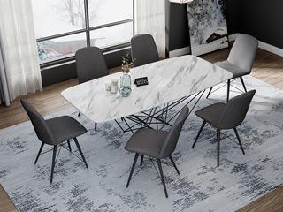 意式极简大理石餐桌 T1001白色1.8米长方形餐桌