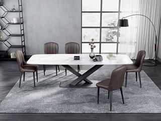 意式极简大理石餐桌 T1029白色1.8米长方形餐桌