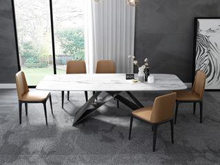 意式极简大理石餐桌 T1030白色1.8米长方形餐桌