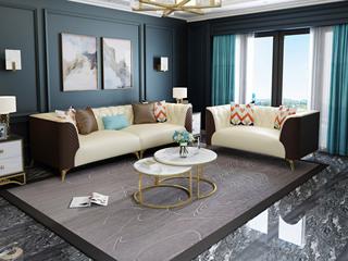 慕梵希 轻奢C05沙发米白配咖啡色 高端纳帕皮沙发组合 2+4