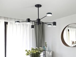 北欧风格 铁艺烤漆+亚克力8022-6吊灯(带三色LED光源)