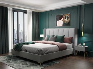 轻奢系列 浅灰色  1.8米 舒适软靠+防潮加固排骨架 布艺床