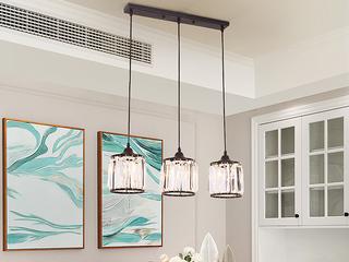 轻奢 铁艺+水晶罩1612-3长盘餐吊灯(含E27光头强暖光12W)