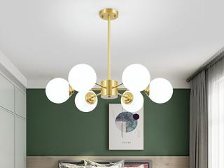 北欧 铜本色+玻璃8803-6吊灯(含E27龙珠泡暖光7W)