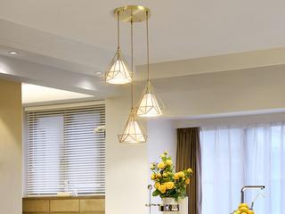 北欧 铜本色8824-3圆餐吊灯(含E27龙珠泡暖光7W)