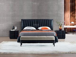 极简系列 接触面进口头层真皮+进口北美白蜡木黑色+灰色床尾凳
