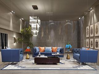 时尚轻奢 意大利进口头层牛皮 进口落叶松框架 深蓝色皮艺沙发组合(1+2+3)