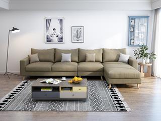 北欧 透气棉麻布艺 俄罗斯进口落叶松坚固实木框架 卡其色 沙发组合(1+3+左贵妃)