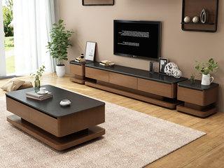 现代简约 胡桃色电视柜(不含边柜)