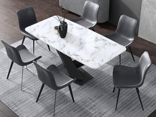 现代简约 黑白色 1.4米餐桌