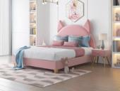 艺家 轻奢风格 经典款 粉色绒布 齐边床 1.5*2.0米床
