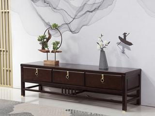 东方印记 新中式风格 泰国进口橡胶木组合柜电视柜(默认都是黑檀色,紫檀色需单独定制)