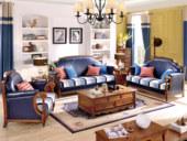 澳菲娅 简美风格 头层油腊皮+布艺 北美鹅掌楸木框架 纯铜装饰钉沙发组合(1+2+3)(抱枕随机发货)