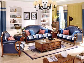 简美风格 头层油腊皮+布艺 北美鹅掌楸木框架 纯铜装饰钉沙发组合(1+2+3)(抱枕随机发货)