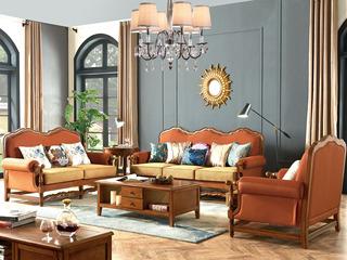 简美风格 汽车磨砂皮+布艺 北美鹅掌楸木框架 纯铜装饰钉沙发组合(1+2+3)(抱枕随机发货)