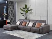 芬洛 现代简约 进口鸵鸟纹科技布面料 座包带活动伸缩功能 温馨灵活  弹簧底坐 转角沙发(1+3+右贵妃)