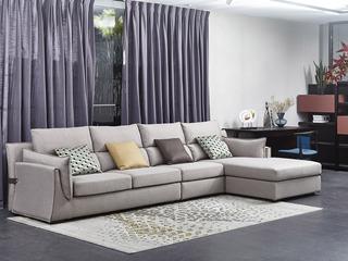 现代简约 棉麻布 弹簧底坐 转角沙发(1+3+左贵妃)