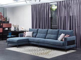 现代简约 棉绒布 弹簧底坐 转角沙发(1+3+右贵妃)