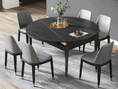 瑞庭 现代简约 劳伦黑金 2260岩板 1.2米餐桌