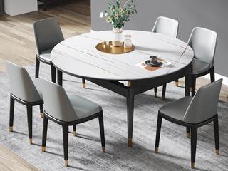 现代简约 劳伦白金 2260岩板 1.5米餐桌