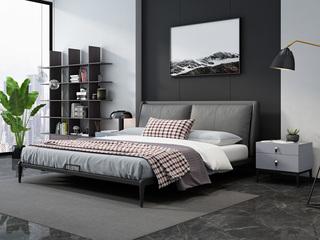 奢工 潮品系列 极简风格 808床 1.8*2.0米 灰色 头层黄牛皮床
