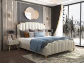 皮坊工艺 轻奢系列 充盈软靠 优质皮艺+实木框架 米白色 1.8米床