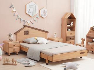 北欧风格 榉木坚固框架 手工木蜡油工艺 曲奇色 ET6103儿童床 1.5*1.9米儿童床