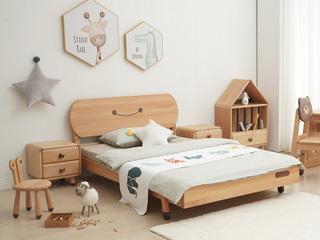 北欧风格 榉木坚固框架 手工木蜡油工艺 曲奇色 ET6110儿童床 1.5*1.9米儿童床