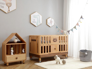 北欧风格 榉木坚固框架 手工木蜡油工艺 曲奇色 ET6106婴儿床