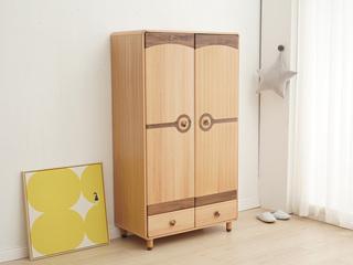 北欧风格 榉木坚固框架 手工木蜡油工艺 曲奇色 ET6108二门衣柜