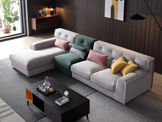 现代简约 进口樟子松坚固框架 超柔压花  弹簧底坐 沙发组合(1+3+右贵妃)