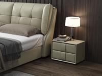 皮坊工藝 現代簡約 捫皮 青灰色床頭柜