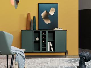 极简风格 苹果绿柜体配面玻 餐边柜