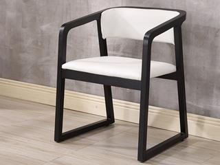 现代简约 白色 白蜡木 皮艺扶手餐椅