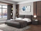 皮坊工艺 现代简约 超柔舒适软靠 科技布+实木框架 咖啡色 1.8米床