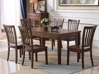 美式风格 泰国进口橡胶木 浅咖色 1.5米长餐桌