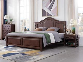 美式风格 泰国进口橡胶木 浅咖色 1.5*2.0米床