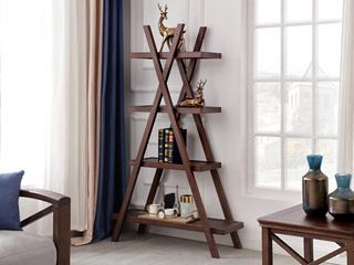 美式风格 泰国进口橡胶木 浅咖色 台阶架