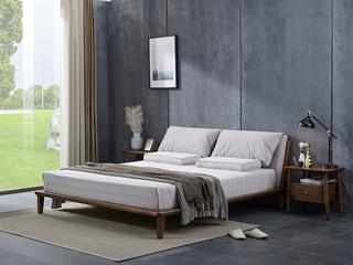 北欧风格 北美进口白蜡木 布艺软靠 1.8*2.0米床