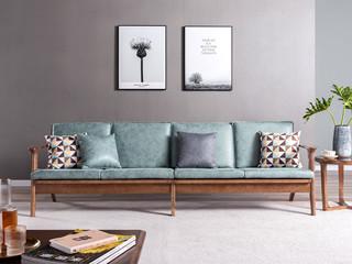 北欧风格 北美进口白蜡木 科技布沙发 双扶手四人位