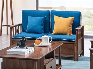 北欧风格 北美进口白蜡木 布艺沙发 两人沙发