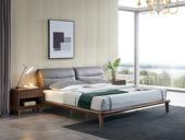 源木时光 北欧风格 北美进口白蜡木 皮艺软靠 1.8*2.0米床